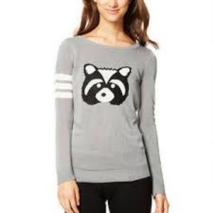 Raccoon Intarsia Sweater dELiA*s lightweight M